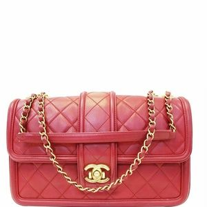 CHANEL Large Elegant CC Flap Calfskin Leather Bag